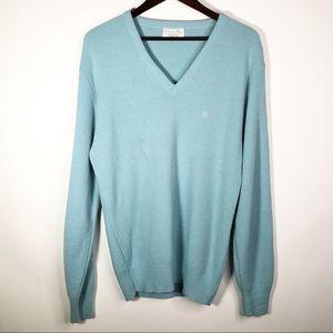 Christian Dior Acrylic V-Neck Sweater Light Blue
